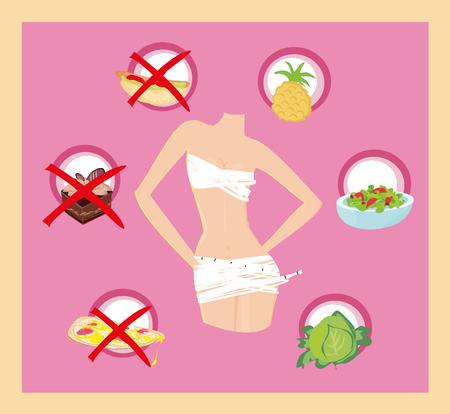 young girl underwear: healthy eating - card Illustration