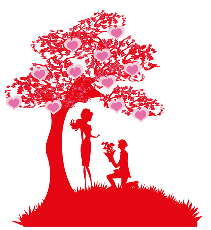 wedding couple: proposal wedding - couple silhouette Illustration