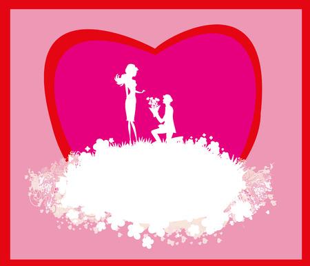 wedding couple silhouette: proposal wedding - couple silhouette card