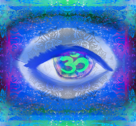 third eye: illustration of a third eye mystical sign Stock Photo