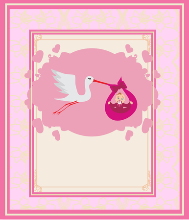 stork delivering a baby: Baby girl Card - A stork delivering a cute baby girl.