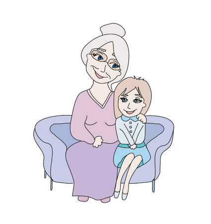 grandmother hugs her granddaughter - hand drawn illustration
