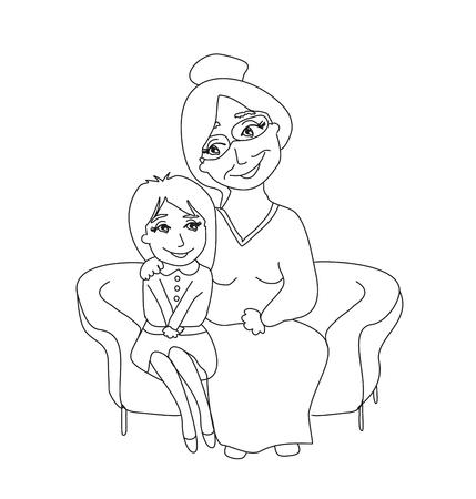 granddaughter: grandmother hugs her granddaughter - hand drawn illustration