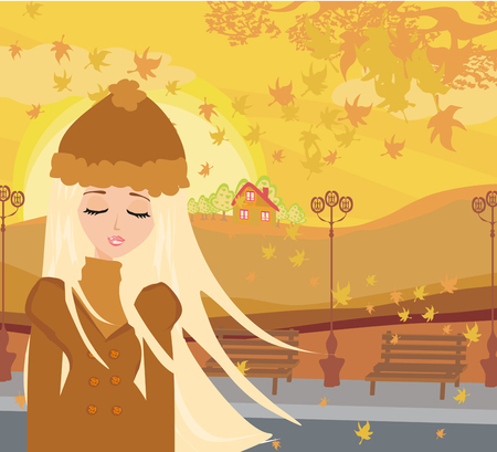 walk in: walk in autumn day Illustration