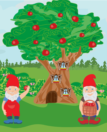 Fantasy tree house and two funny gnomes