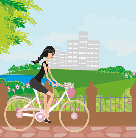 young girl: young girl with bicycle