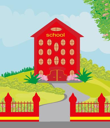 yellow hills: funny school building Illustration
