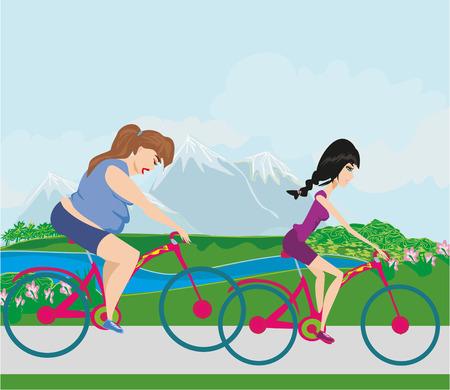obesidad infantil: mujer con sobrepeso y su delgada amigo montar en bicicletas
