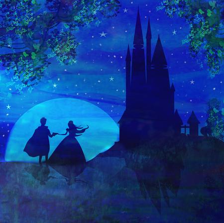 castillos de princesas: Castillo mágico y la princesa con el príncipe Foto de archivo