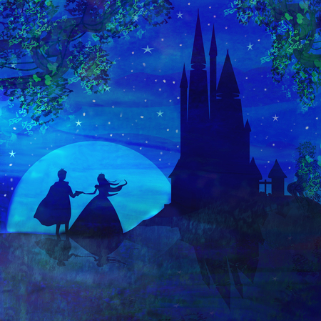 cartoon landscape: Magic castle and princess with prince