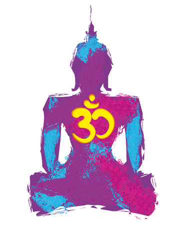 om symbol: Silhouette of a Buddha and Om symbol Illustration