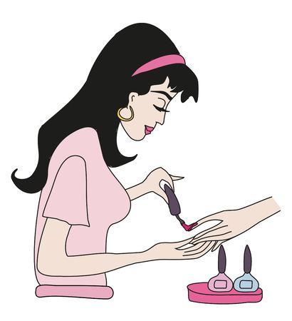 manicurist: manicurist applying nail polish