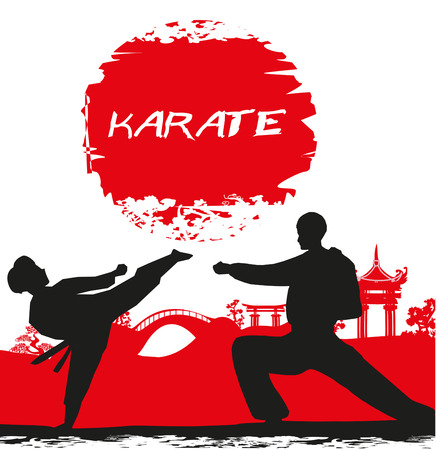 mix fighting: karate occupations - Grunge background