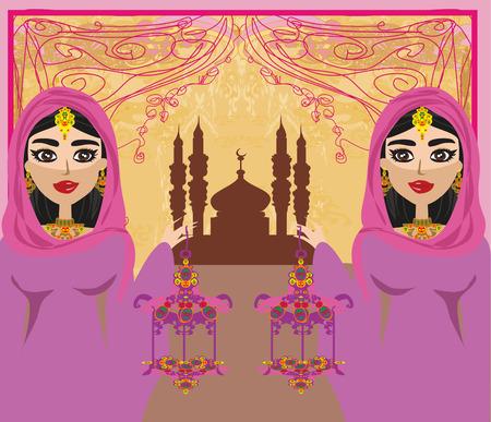 intense: beautiful muslim women on mosque background.