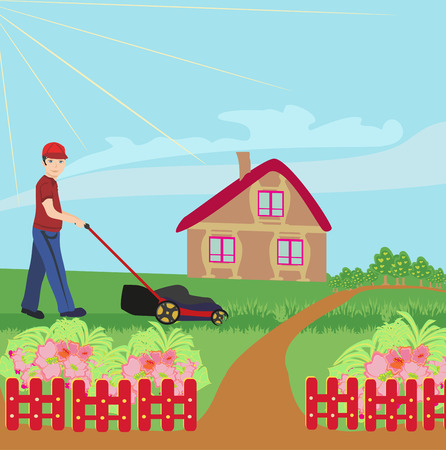 mowing lawn: man mowing the lawn