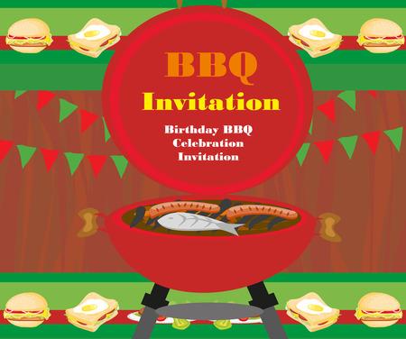 boarder: Barbecue Party Invitation Illustration