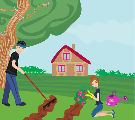 plunder: couple with garden tools working together at garden Illustration