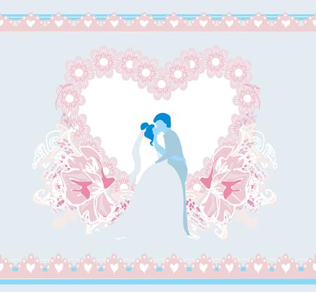 stylish couple: stylish wedding invitation card with kissing couple