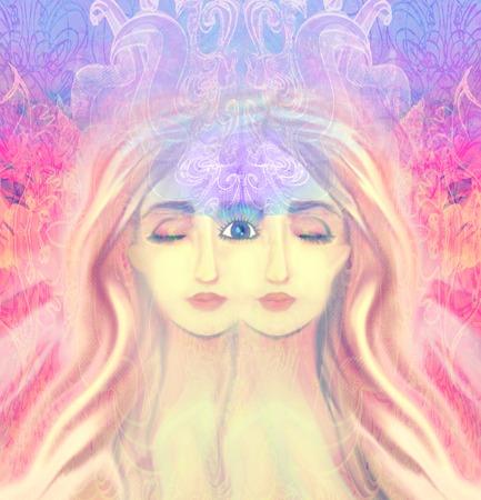 extra sensory perception: Woman with third eye, psychic supernatural senses