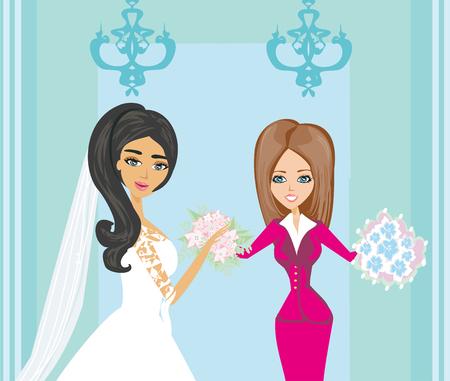 weddingplanner en bruid Vector Illustratie