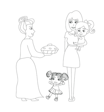 stereotypical: Grandma baked a delicious cake Illustration
