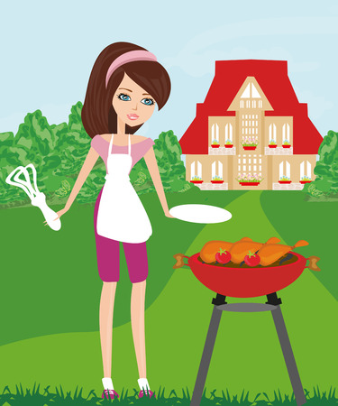 outside the house: Woman cooking on a grill Illustration