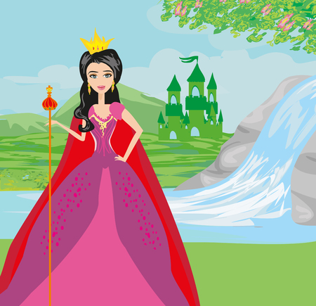 waterfall in forest: Beautiful young queen in front of her castle
