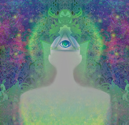 third eye: man with third eye, psychic supernatural senses Stock Photo