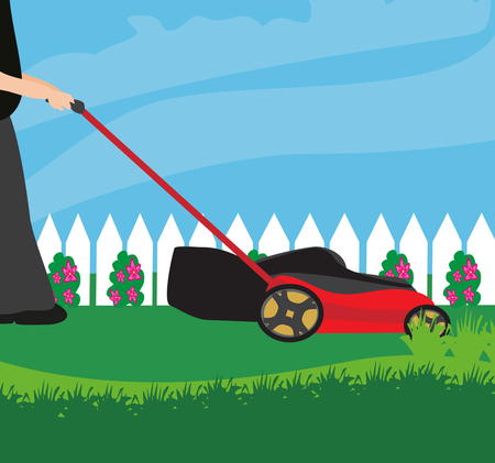 push mower: Lawn Mower With Grass Illustration