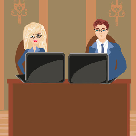 business meeting: Formally dressed people in office, business meeting Illustration