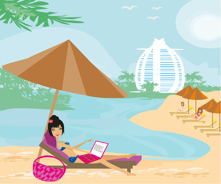 using laptop: Woman sitting in deck chair and using laptop computer