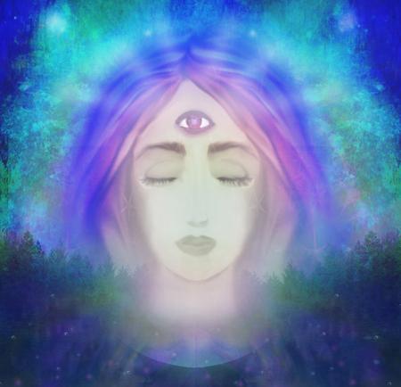 第三の目を持つ女性、精神的な超自然的な感覚します。