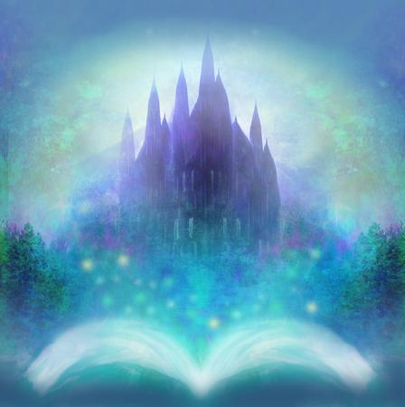 テイルズ、本から出現する妖精城の魔法の世界