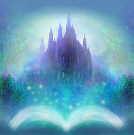 fairy castle: Magic world of tales, fairy castle appearing from the book