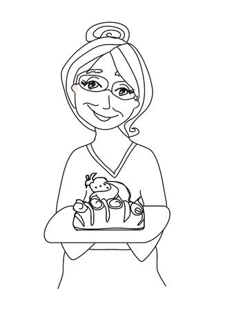 grannie: Grandma baked a delicious cake Illustration