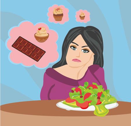 dissatisfaction: girl on a diet Illustration