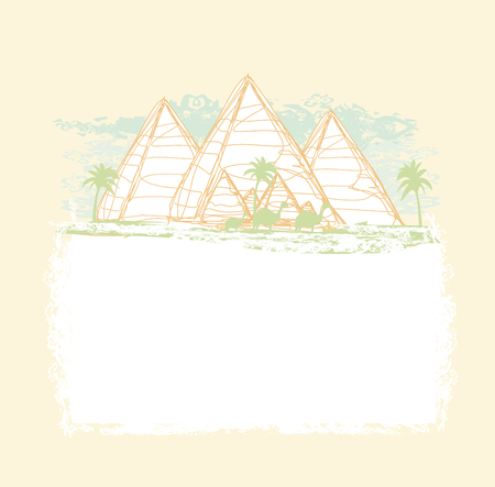 cheops: vintage background with pyramids giza