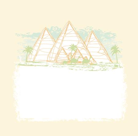 giza: vintage background with pyramids giza