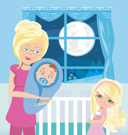 grandchildren: grandmother with grandchildren Illustration