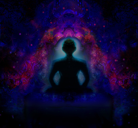 yogi aura: man meditate, yoga.