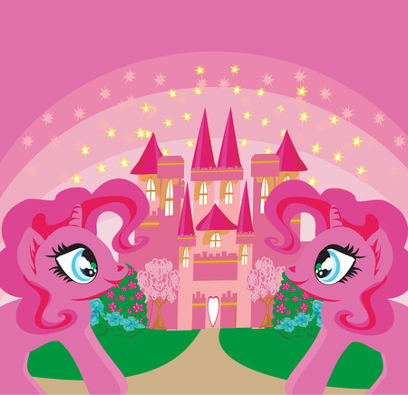 princess castle: Card with a cute unicorns rainbow and fairy-tale princess castle Illustration
