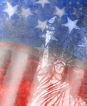 patriotic background: Grunge illustration of the american flag with the Statue of Liberty Stock Photo