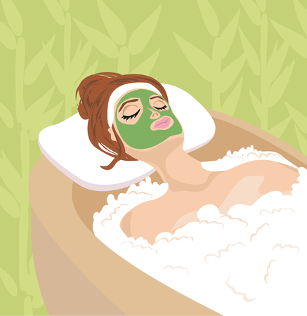 hair mask: woman with mask on his face relaxes Illustration