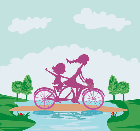 sillhouette: Mother and daughter biking