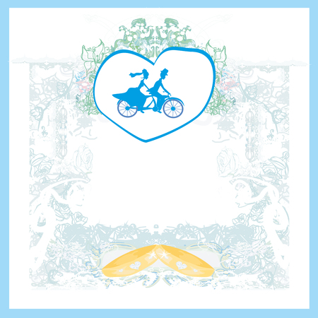 tandem bicycle: wedding invitation with bride and groom riding tandem bicycle Illustration