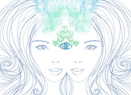 psiquico: Mujer con tercer ojo, ps�quico sobrenatural sentidos