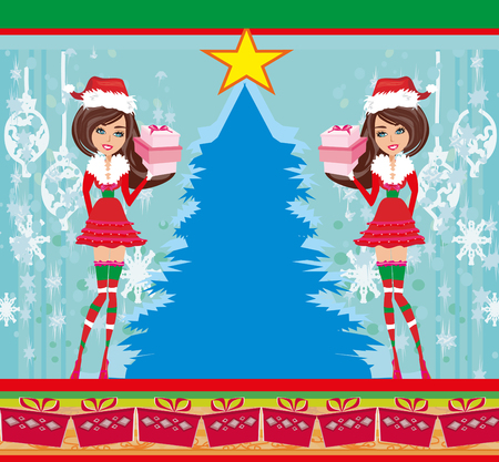 christmas costume: beautiful pin-up girls in Christmas inspired costume