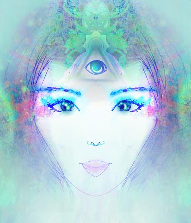 psychic: Mujer con tercer ojo, psíquico sobrenatural sentidos