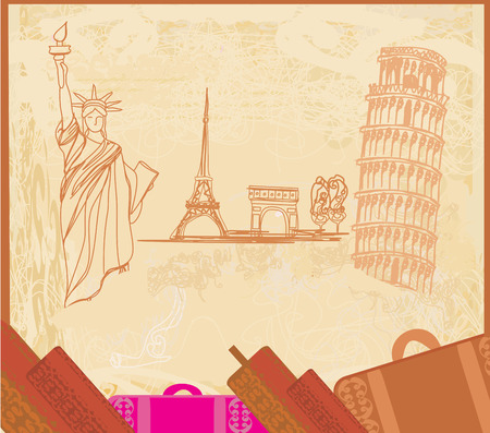 monuments: travel design element with different monuments Illustration