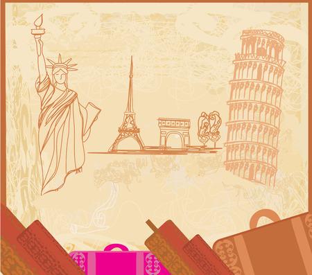 backdrop design: travel design element with different monuments Illustration